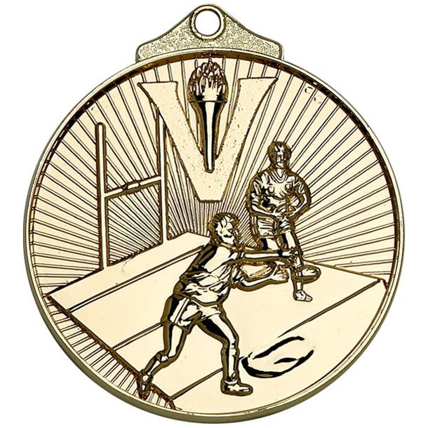 """Gold Horizon Rugby Medal 52mm (2"""")"""