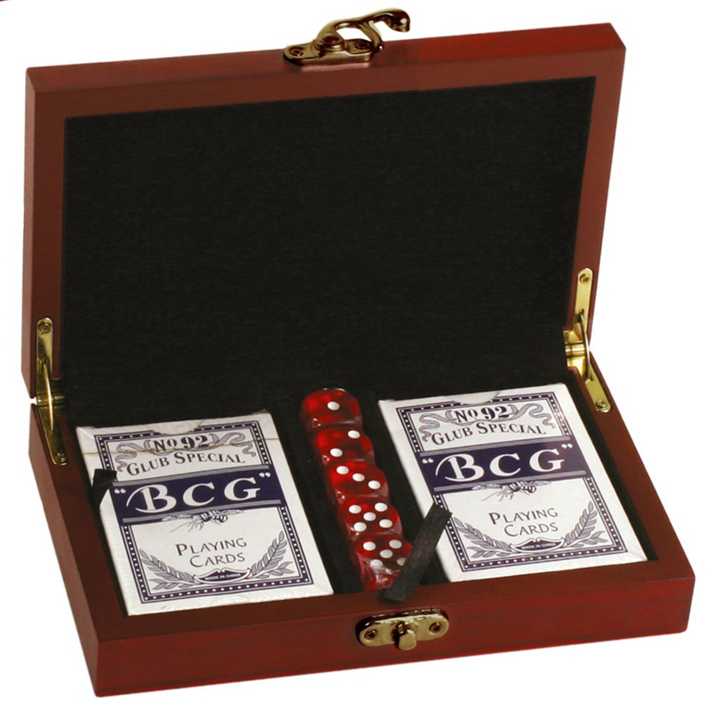 "Rosewood Finish Twin Card & Dice Set 19cm (7.5"")"
