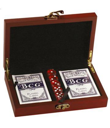 "Rosewood Finish Twin Card & Dice Set 19cm (7.5"")"