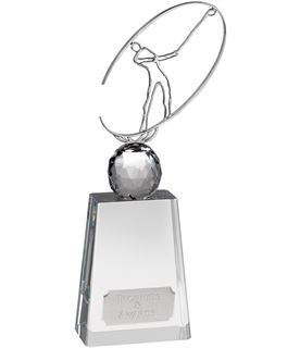 "Optical Crystal Golf Award with Metal Golf Figure 31cm (12.25"")"