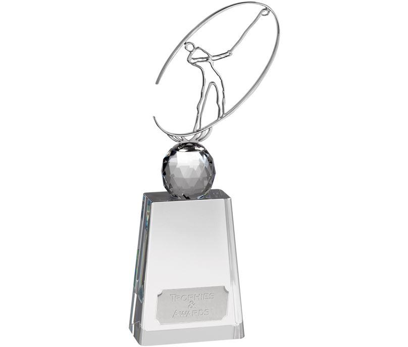 "Optical Crystal Golf Award with Metal Golf Figure 28.5cm (11.25"")"