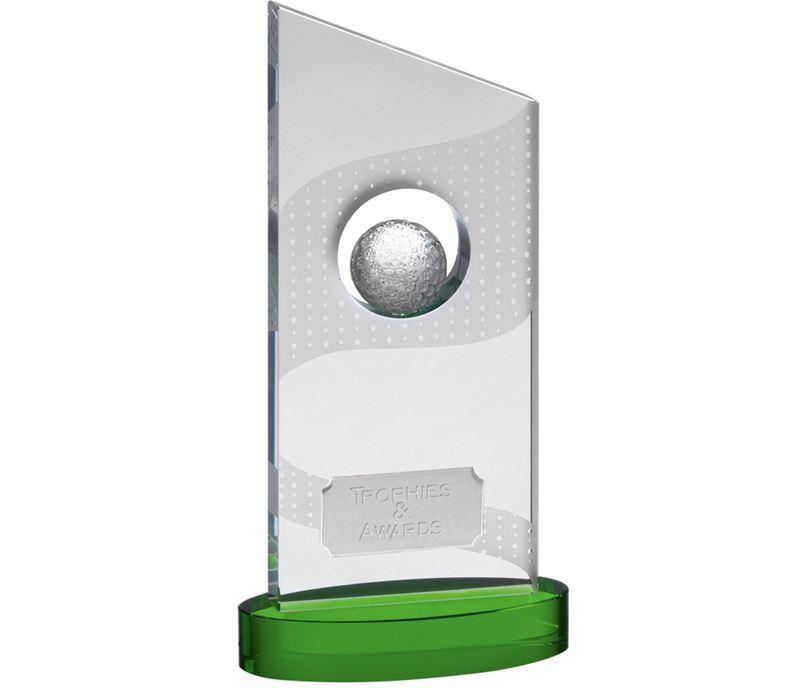"Clear Optical Crystal Golf Award on Green Base 31cm (12.25"")"