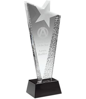 "Ice Patterned Glass Award with Frosted Star 30cm (11.75"")"