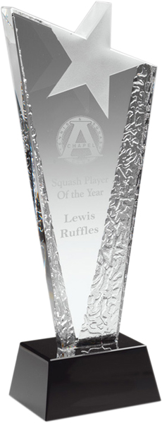 "Ice Patterned Glass Award with Frosted Star 23.5cm (9.25"")"