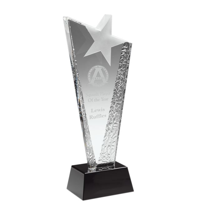 "Ice Patterned Glass Award with Frosted Star 25.5cm (10"")"
