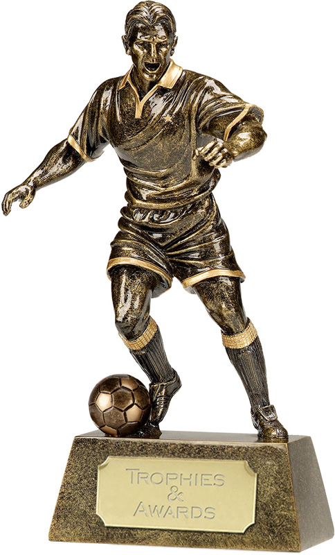 "Antique Gold Pinnacle Footballer Trophy 15cm (6"")"