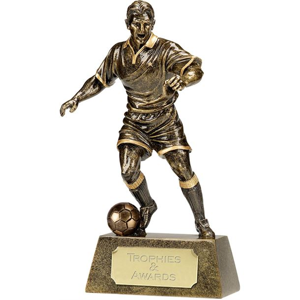 "Antique Gold Pinnacle Footballer Trophy 22cm (8.75"")"