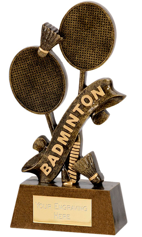 "Badminton Rackets & Word Trophy 18.5cm (7.25"")"
