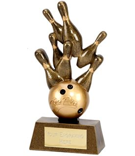 "Gold Ten Pin Bowling Award with Ball and Skittles 15cm (6"")"