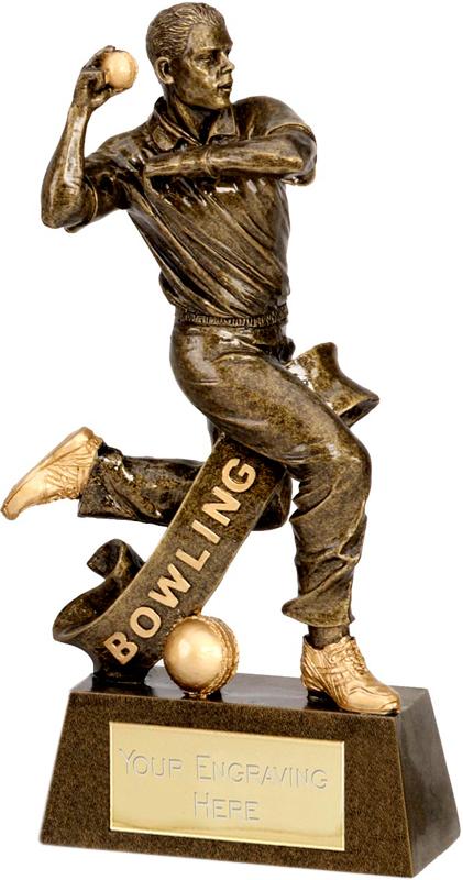 """Antique Gold Cricket Bowler Trophy 15cm (6"""")"""