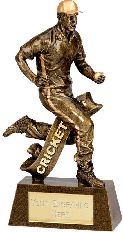 """Antique Gold Cricket Fielder Trophy 15cm (6"""")"""