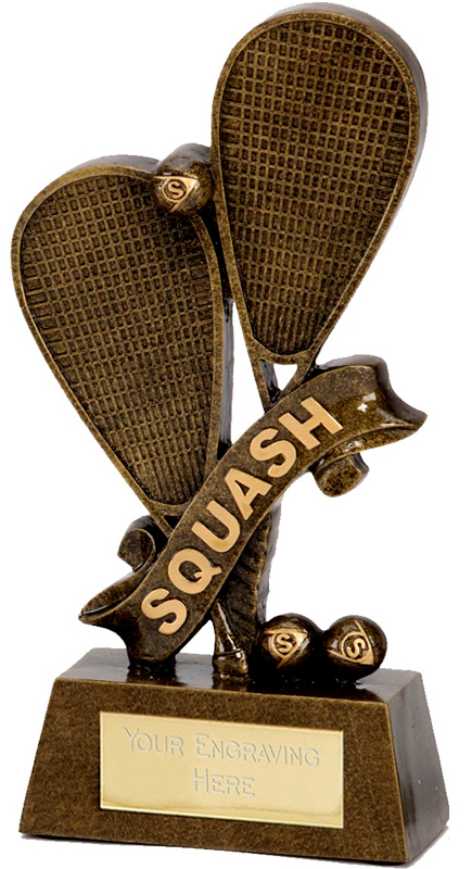 "Squash Rackets & Words Trophy 18.5cm (7.25"")"