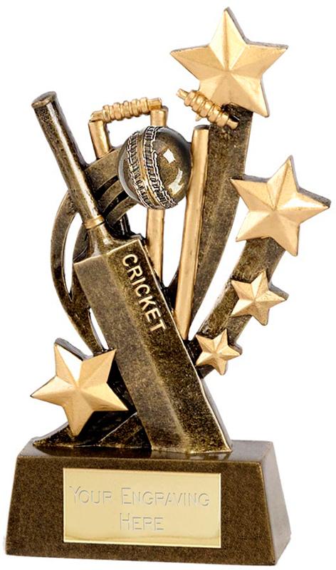"Gold Cricket Ball, Bat and Stars 12.5cm (5"")"