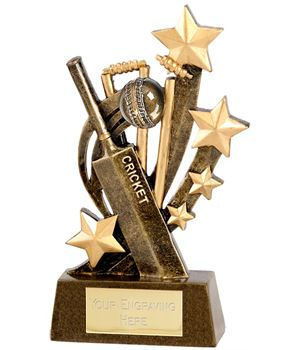 "Gold Cricket Ball, Bat and Stars 11cm (4.25"")"