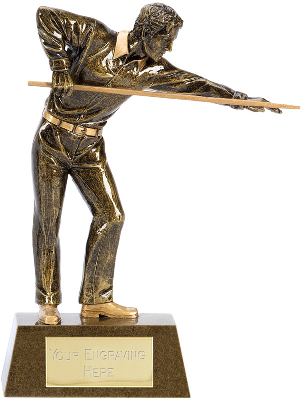 "Antique Gold Resin Pool or Snooker Player Trophy 22cm (8.75"")"