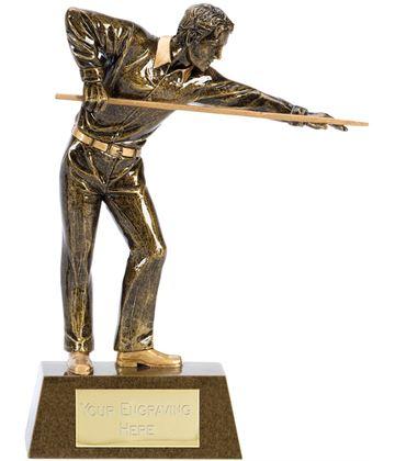 "Antique Gold Resin Pool or Snooker Player Trophy 15cm (6"")"