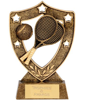 "Tennis Shield with Tennis Rackets 12.5cm (5"")"