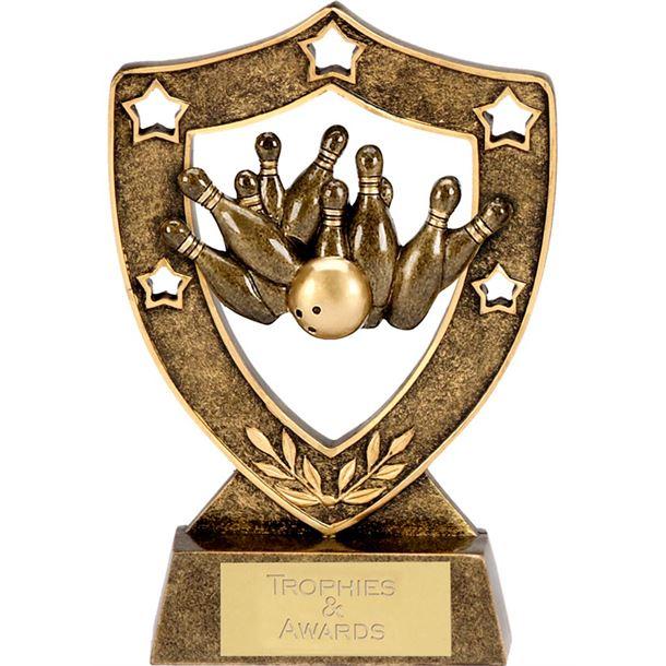 """Antique Gold Ten Pin Shield Award 15cm (6"""")"""