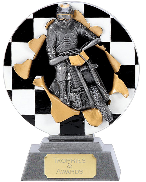 "X-Plode Motocross Antique Silver Resin Trophy 18cm (7"")"