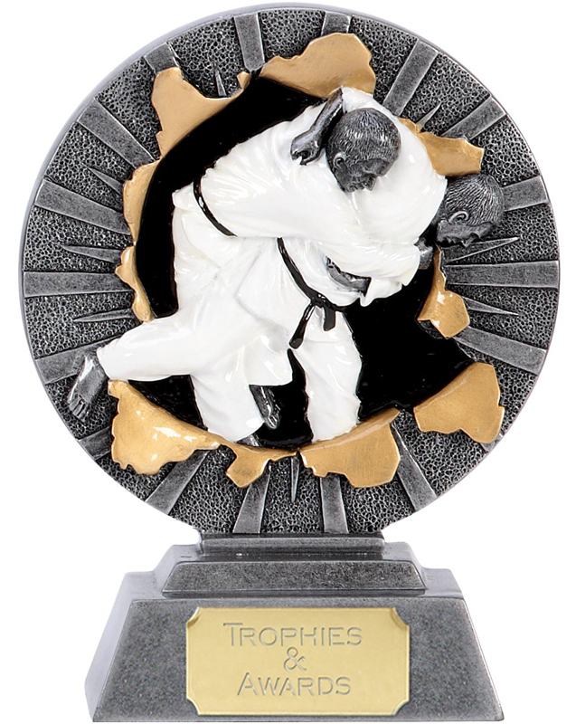 "Antique Silver X-Plode Judo Trophy 15cm (6"")"