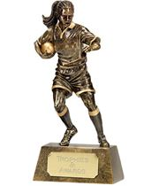 "Resin Antique Gold Pinnacle Female Rugby 15cm (6"")"