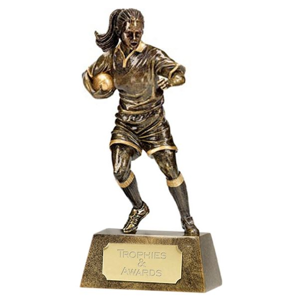 """Resin Antique Gold Pinnacle Female Rugby 18.5cm (7.25"""")"""