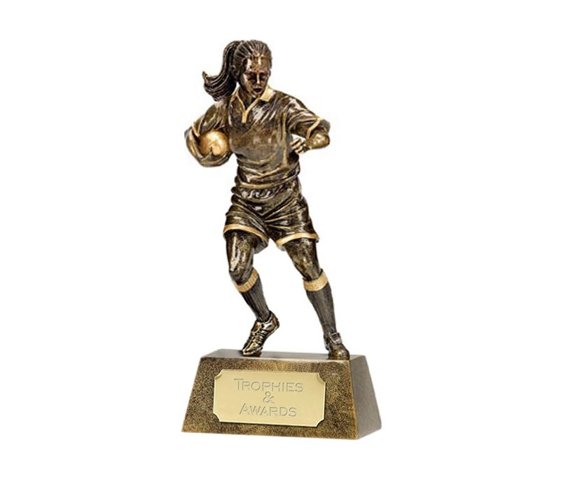 """Resin Antique Gold Pinnacle Female Rugby 15cm (6"""")"""
