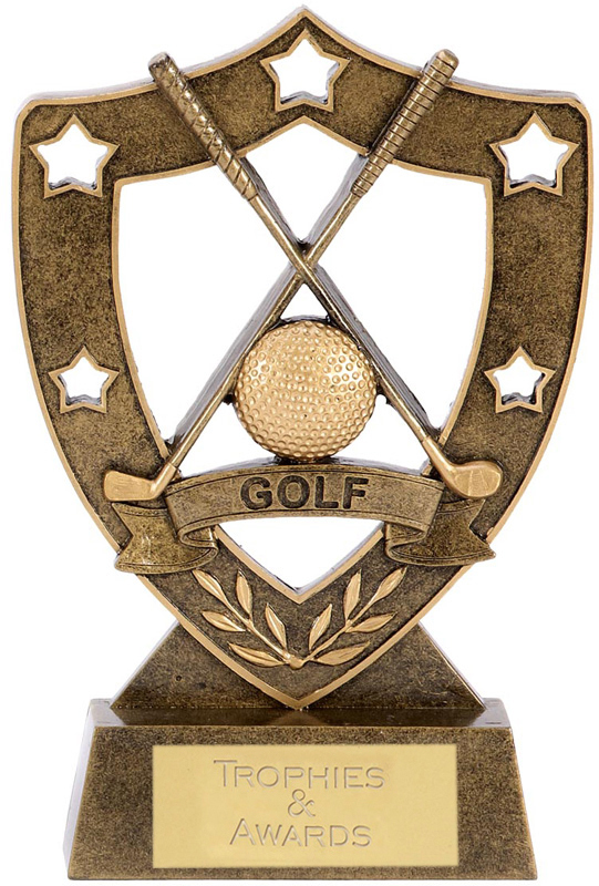 "Crossed Golf Club 5 Star Shield 12.5cm (5"")"
