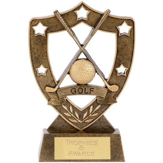 """Crossed Golf Club 5 Star Shield 12.5cm (5"""")"""