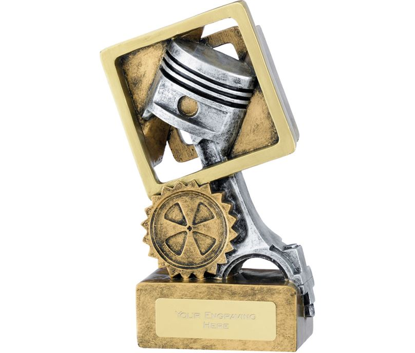 "Resin Silver Piston Trophy on Gold Base 14cm (5.5"")"