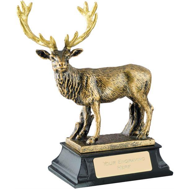 """Antique Gold Resin Deer Trophy on Black Base 14cm (5.5"""")"""