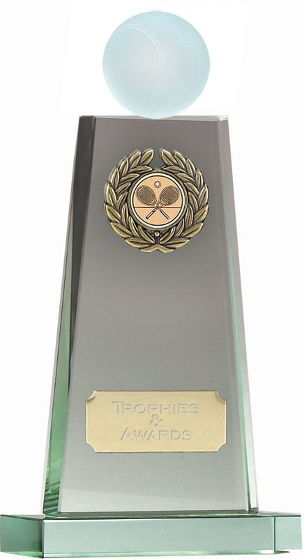 "Tennis Ball Mounted on Glass Award 21.5cm (8.5"")"