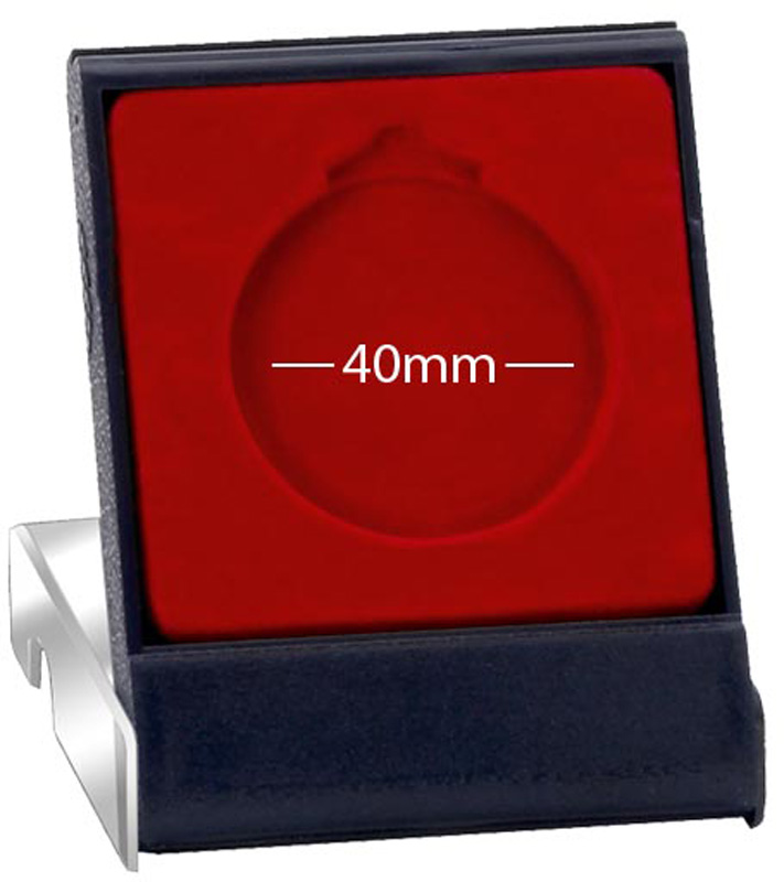 Clear Lid Medal Box with Red Trim 40mm Recess