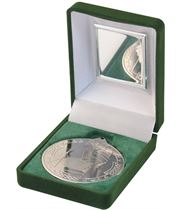 """Silver Gaelic Football Medal 50mm (2"""") in Green Velvet Box"""