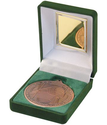 "Bronze Gaelic Football Medal 50mm (2"") in Green Velvet Box"