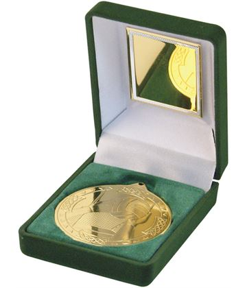 Gold Gaelic Football Medal 50mm in Green Velvet Box