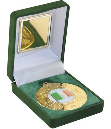 "Gold Four Provinces Medal 50mm (2"") in Green Velvet Box"