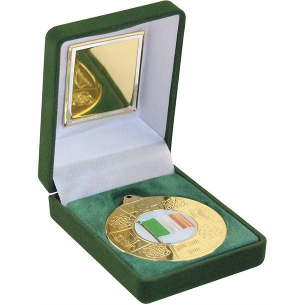"""Gold Four Provinces Medal 50mm (2"""") in Green Velvet Box"""