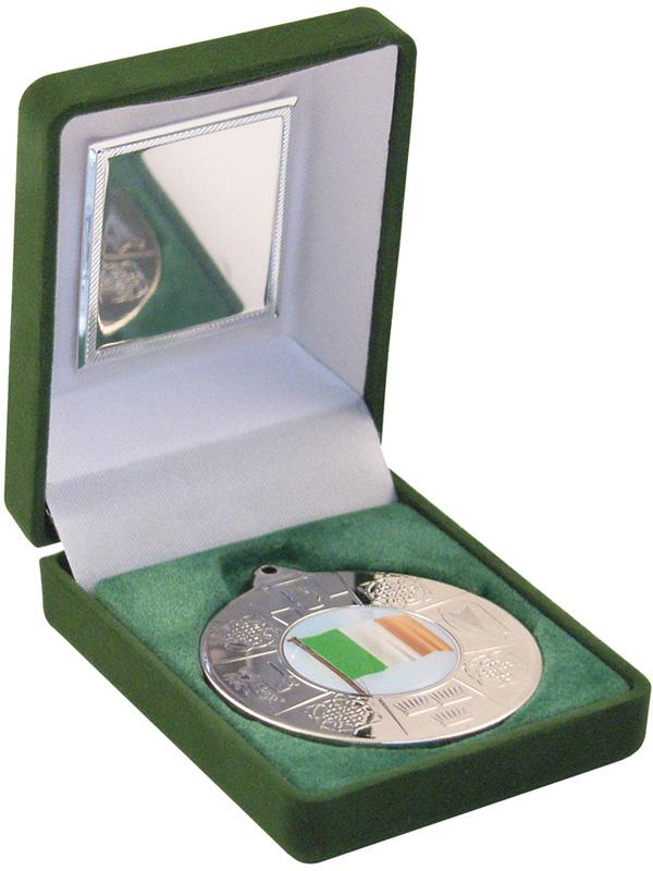 """Silver Four Provinces Medal 50mm (2"""") in Green Velvet Box"""