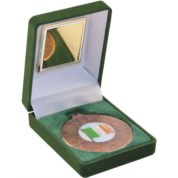 """Bronze Four Provinces Medal 50mm (2"""") in Green Velvet Box"""