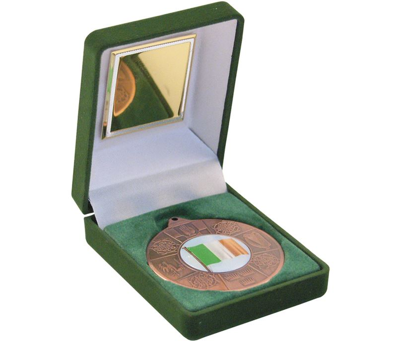 "Bronze Four Provinces Medal 50mm (2"") in Green Velvet Box"