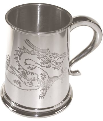 "1pt Chinese Dragon Embossed Sheffield Pewter Tankard 11.5cm (4.5"")"