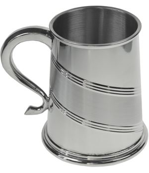 "Diagonal Striped Satin 1pt Sheffield Pewter Tankard 11.5cm (4.5"")"