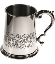 "1pt Celtic Dragon Embossed Sheffield Pewter Tankard 11.5cm (4.5"")"