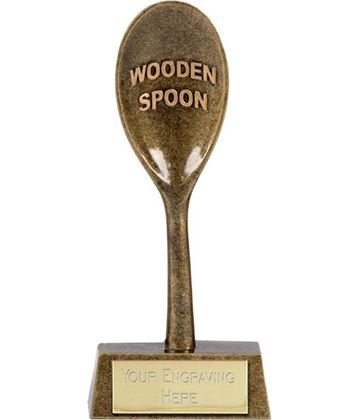 "Gold Resin Last Place Wooden Spoon Award 16.5cm (6.5"")"