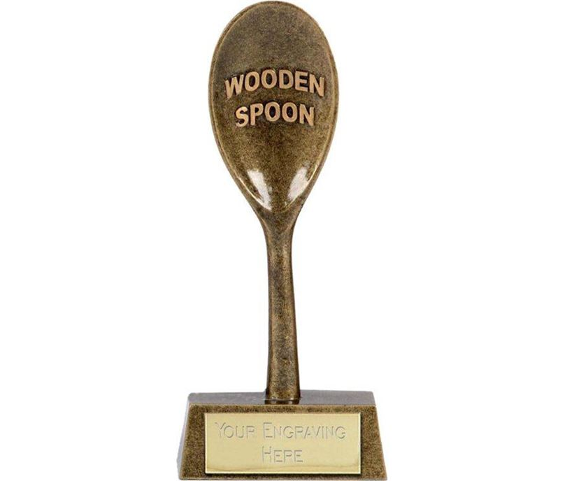 """Gold Resin Last Place Wooden Spoon Award 16.5cm (6.5"""")"""