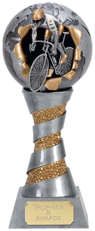 "Racing Cyclist Trophy with Gold & White Trim 25.5cm (10"")"