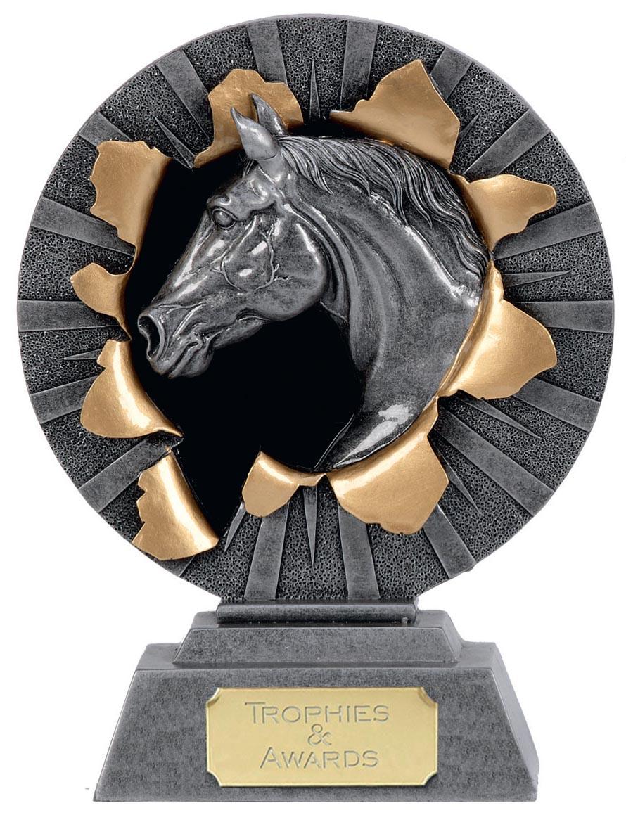 "X-Plode Silver Horse Head Figure Trophy 23cm (9"")"