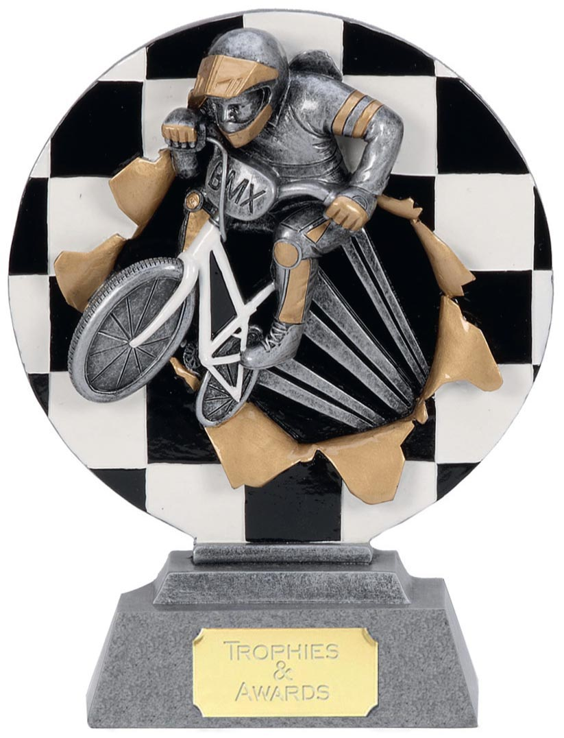 "Silver BMX Cyclist Trophy with Gold Trim 20.5cm (8"")"