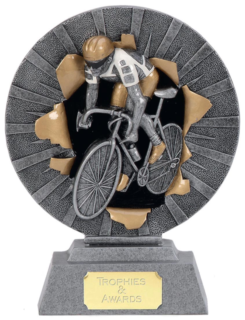 """Road Cyclist Trophy with Gold & White Trim 18cm (7"""")"""